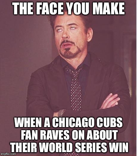 Face You Make Robert Downey Jr Meme | THE FACE YOU MAKE WHEN A CHICAGO CUBS FAN RAVES ON ABOUT THEIR WORLD SERIES WIN | image tagged in memes,face you make robert downey jr | made w/ Imgflip meme maker