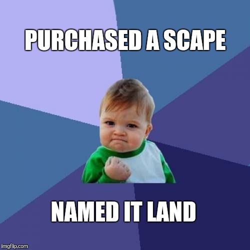 Success Kid Meme | PURCHASED A SCAPE NAMED IT LAND | image tagged in memes,success kid | made w/ Imgflip meme maker