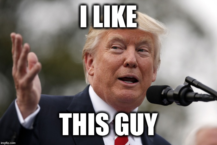 Trump4 | I LIKE THIS GUY | image tagged in trump4 | made w/ Imgflip meme maker