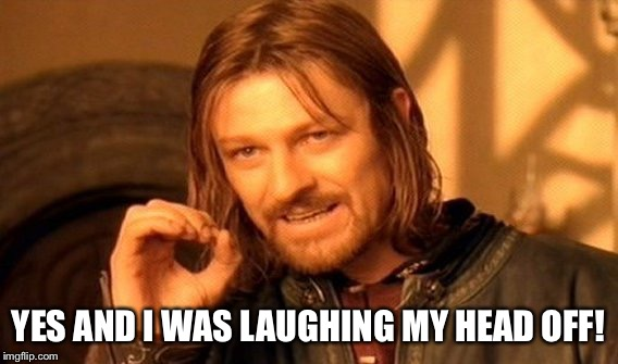 One Does Not Simply Meme | YES AND I WAS LAUGHING MY HEAD OFF! | image tagged in memes,one does not simply | made w/ Imgflip meme maker