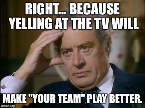 "RIGHT... BECAUSE YELLING AT THE TV WILL MAKE ""YOUR TEAM"" PLAY BETTER. 