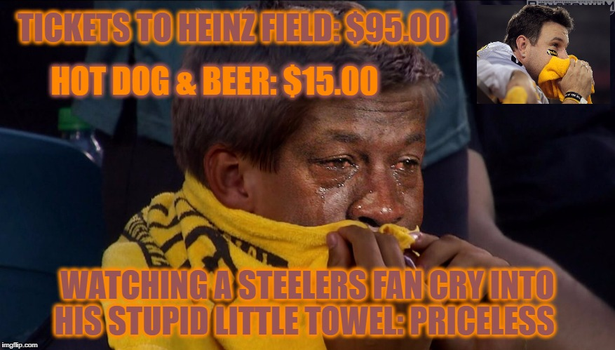Pittsburgh Steelers | TICKETS TO HEINZ FIELD: $95.00 WATCHING A STEELERS FAN CRY INTO HIS STUPID LITTLE TOWEL: PRICELESS HOT DOG & BEER: $15.00 | image tagged in stupid towel,steelers suck,pittsburgh steelers,pittsburgh sucks,nfl,nfl memes | made w/ Imgflip meme maker