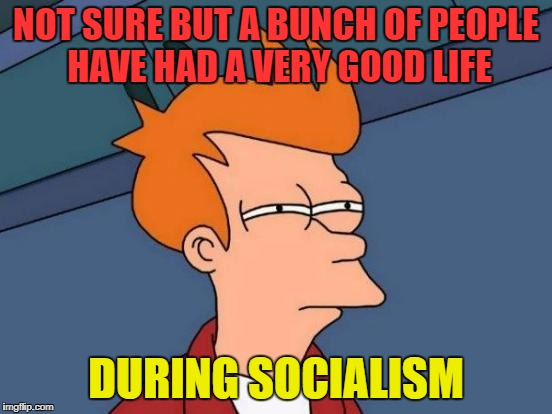 Futurama Fry Meme | NOT SURE BUT A BUNCH OF PEOPLE HAVE HAD A VERY GOOD LIFE DURING SOCIALISM | image tagged in memes,futurama fry | made w/ Imgflip meme maker