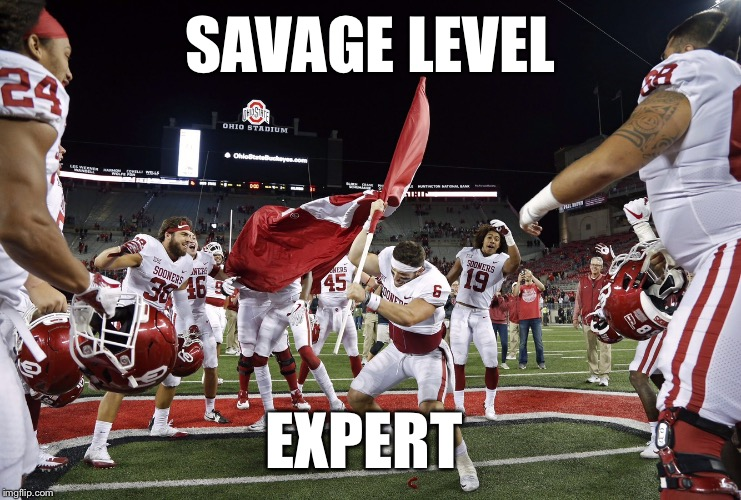 Planting your school's flag on your opponent's field after dominating them... | SAVAGE LEVEL EXPERT | image tagged in baker mayfield flag plant,baker mayfield,oklahoma,sooners,ohio state buckeyes,savage | made w/ Imgflip meme maker