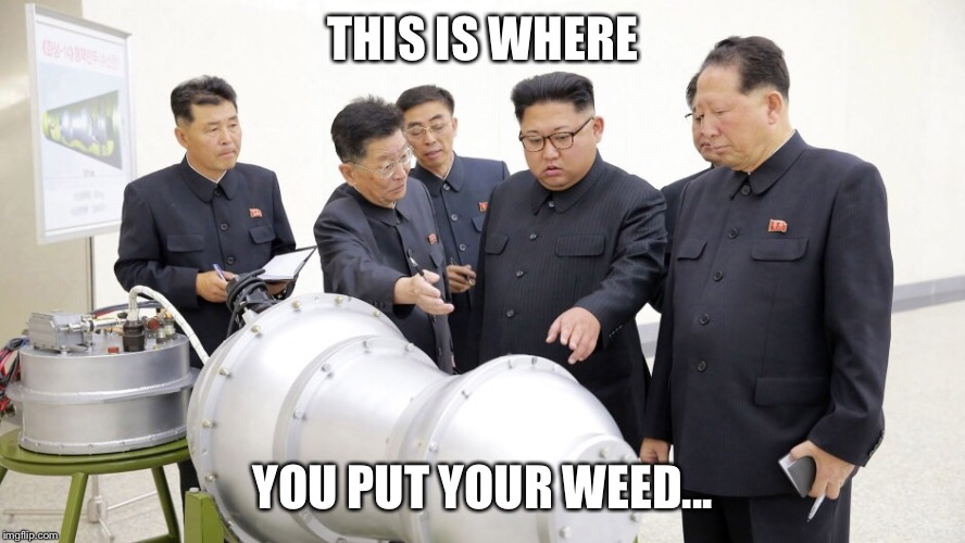 THIS IS WHERE YOU PUT YOUR WEED... | image tagged in northkorea | made w/ Imgflip meme maker