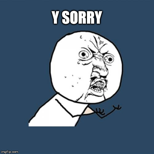 Y U No Meme | Y SORRY | image tagged in memes,y u no | made w/ Imgflip meme maker
