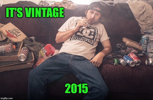 Stoner on couch | IT'S VINTAGE 2015 | image tagged in stoner on couch | made w/ Imgflip meme maker