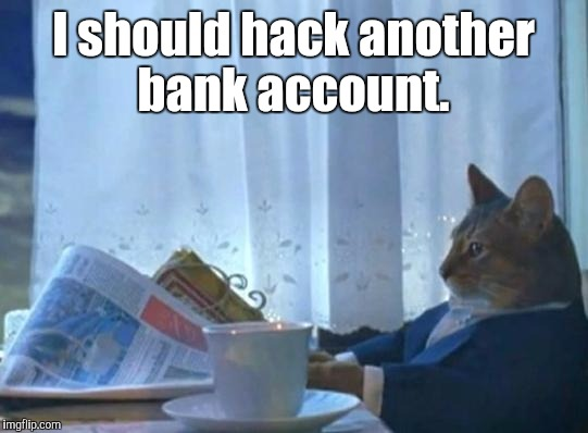 I should hack another bank account. | made w/ Imgflip meme maker