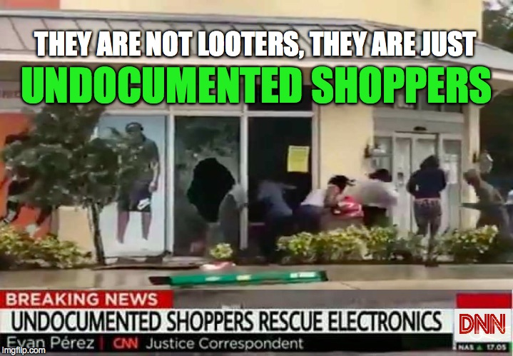 UNDOCUMENTED SHOPPERS THEY ARE NOT LOOTERS, THEY ARE JUST | image tagged in hurricane irma | made w/ Imgflip meme maker