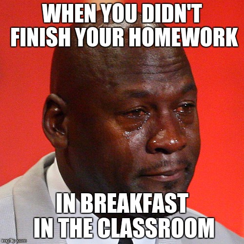 Michael Jordan Crying | WHEN YOU DIDN'T FINISH YOUR HOMEWORK IN BREAKFAST IN THE CLASSROOM | image tagged in michael jordan crying | made w/ Imgflip meme maker