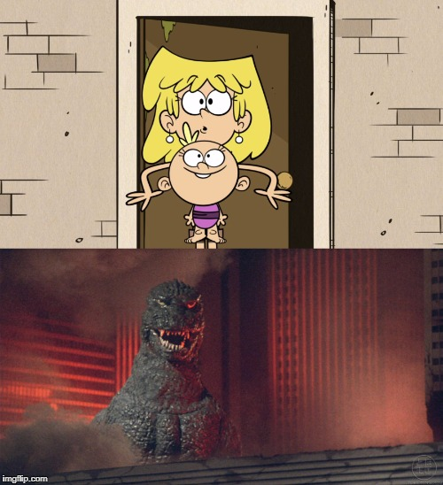 image tagged in the loud house,godzilla | made w/ Imgflip meme maker