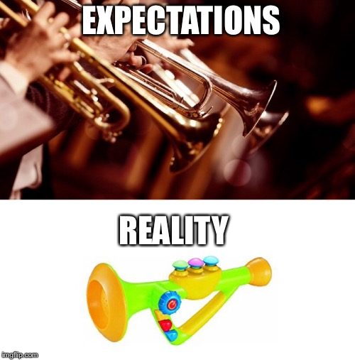 EXPECTATIONS REALITY | image tagged in trumpet,band | made w/ Imgflip meme maker