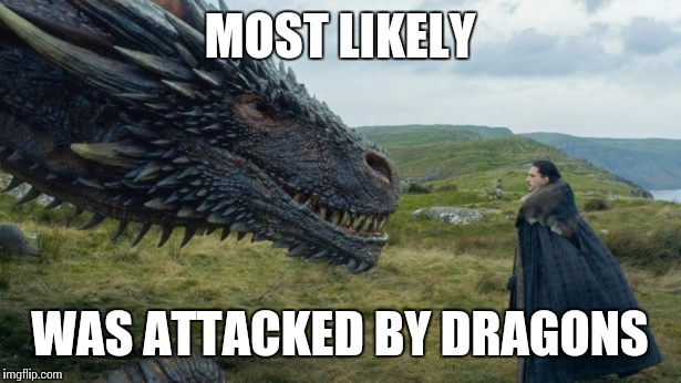 MOST LIKELY WAS ATTACKED BY DRAGONS | made w/ Imgflip meme maker
