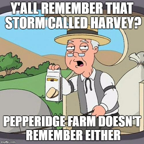 Pepperidge Farm Remembers Meme | Y'ALL REMEMBER THAT STORM CALLED HARVEY? PEPPERIDGE FARM DOESN'T REMEMBER EITHER | image tagged in memes,pepperidge farm remembers,AdviceAnimals | made w/ Imgflip meme maker