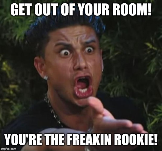 DJ Pauly D Meme | GET OUT OF YOUR ROOM! YOU'RE THE FREAKIN ROOKIE! | image tagged in memes,dj pauly d | made w/ Imgflip meme maker