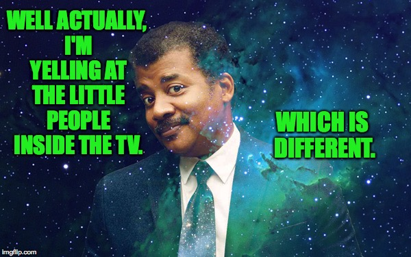 WELL ACTUALLY, I'M YELLING AT THE LITTLE PEOPLE INSIDE THE TV. WHICH IS DIFFERENT. | made w/ Imgflip meme maker