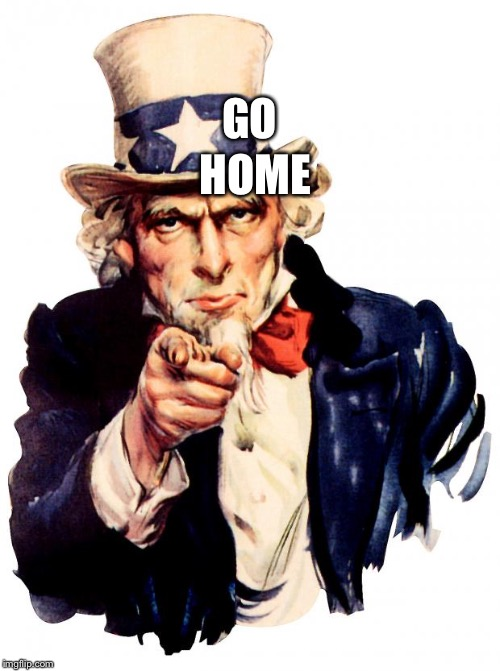 Uncle Sam Meme | GO HOME | image tagged in memes,uncle sam | made w/ Imgflip meme maker