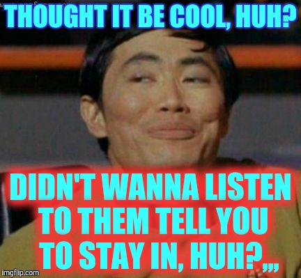 Sulu knows what you're talking about,,, | THOUGHT IT BE COOL, HUH? DIDN'T WANNA LISTEN TO THEM TELL YOU   TO STAY IN, HUH?,,, | image tagged in sulu knows what you're talking about   | made w/ Imgflip meme maker