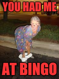 YOU HAD ME AT BINGO | image tagged in granny panties | made w/ Imgflip meme maker