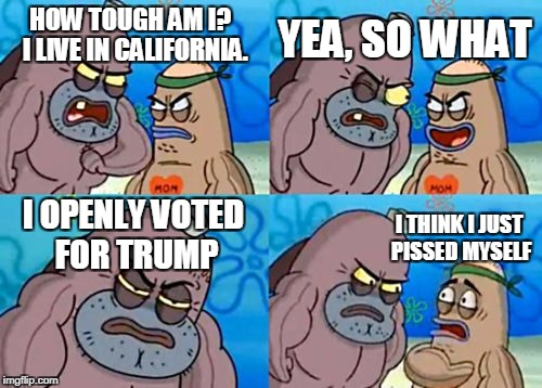 How Tough Are You Meme | HOW TOUGH AM I?  I LIVE IN CALIFORNIA. YEA, SO WHAT I OPENLY VOTED FOR TRUMP I THINK I JUST PISSED MYSELF | image tagged in memes,how tough are you | made w/ Imgflip meme maker