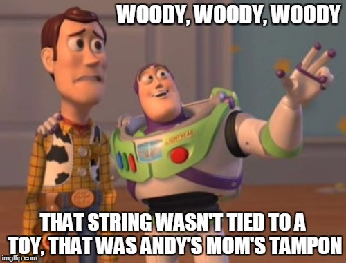 X, X Everywhere Meme | WOODY, WOODY, WOODY THAT STRING WASN'T TIED TO A TOY, THAT WAS ANDY'S MOM'S TAMPON | image tagged in memes,x,x everywhere,x x everywhere | made w/ Imgflip meme maker