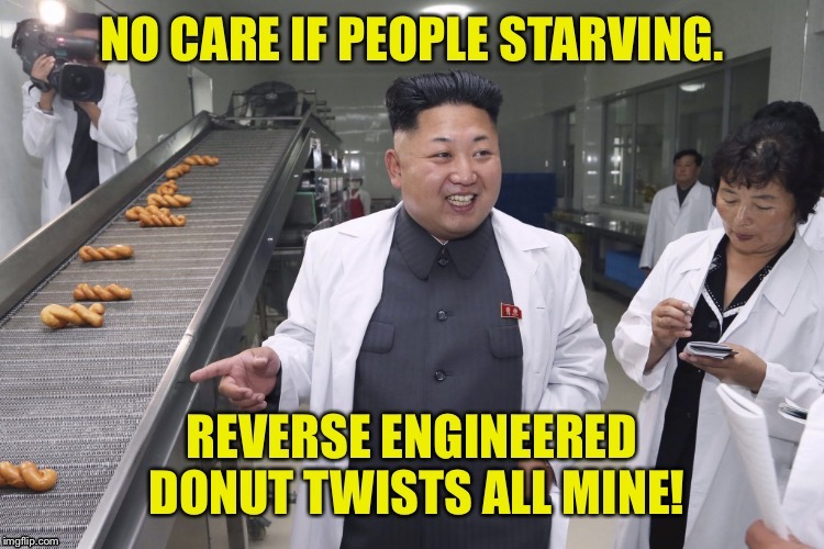 Food distribution under a fat dictator | . | image tagged in memes,kim jong un,donuts,reverse engineered,starving north koreans,fat dictator | made w/ Imgflip meme maker