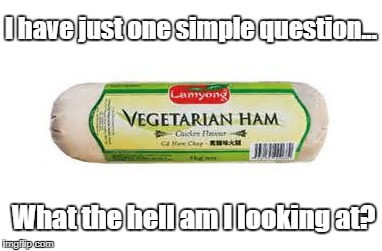 Vegetarian Ham .. What the Hell? | I have just one simple question... What the hell am I looking at? | image tagged in vegetarian,ham | made w/ Imgflip meme maker