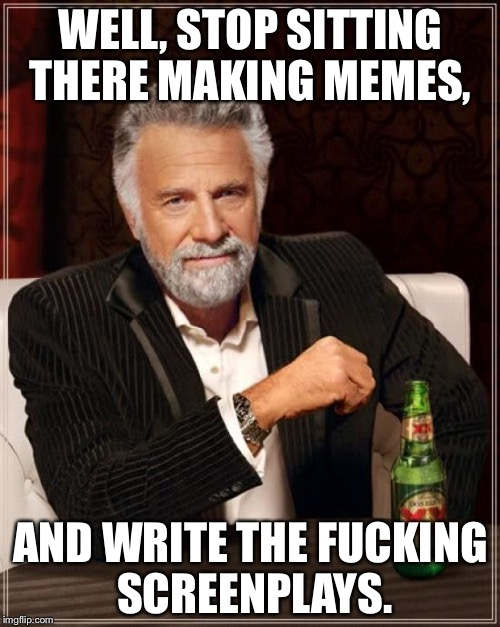 The Most Interesting Man In The World Meme | WELL, STOP SITTING THERE MAKING MEMES, AND WRITE THE F**KING SCREENPLAYS. | image tagged in memes,the most interesting man in the world | made w/ Imgflip meme maker