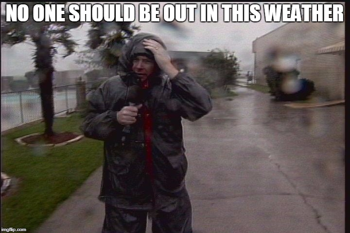 NO ONE SHOULD BE OUT IN THIS WEATHER | image tagged in hurricane reporter | made w/ Imgflip meme maker