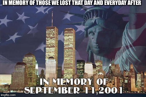 9/11 | IN MEMORY OF THOSE WE LOST THAT DAY AND EVERYDAY AFTER | image tagged in 9/11,memory | made w/ Imgflip meme maker