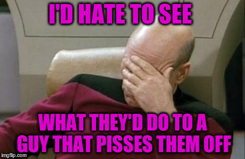 Captain Picard Facepalm Meme | I'D HATE TO SEE WHAT THEY'D DO TO A GUY THAT PISSES THEM OFF | image tagged in memes,captain picard facepalm | made w/ Imgflip meme maker