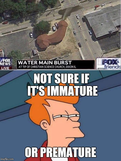 Unfortunately water main break | NOT SURE IF IT'S IMMATURE OR PREMATURE | image tagged in fry,not sure,nsfw | made w/ Imgflip meme maker