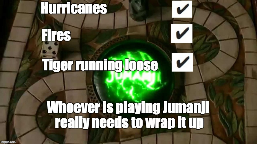 Jumanji | Hurricanes Fires Tiger running loose Whoever is playing Jumanji really needs to wrap it up | image tagged in jumanji | made w/ Imgflip meme maker