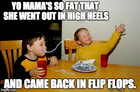 Yo Mamas So Fat Meme | YO MAMA'S SO FAT THAT SHE WENT OUT IN HIGH HEELS AND CAME BACK IN FLIP FLOPS. | image tagged in memes,yo mamas so fat | made w/ Imgflip meme maker