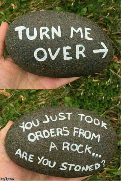 You just took orders from a rock!! | image tagged in sir_unknown,rock,dank memes,funny,high | made w/ Imgflip meme maker