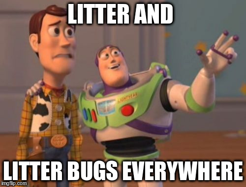 X, X Everywhere Meme | LITTER AND LITTER BUGS EVERYWHERE | image tagged in memes,x x everywhere | made w/ Imgflip meme maker