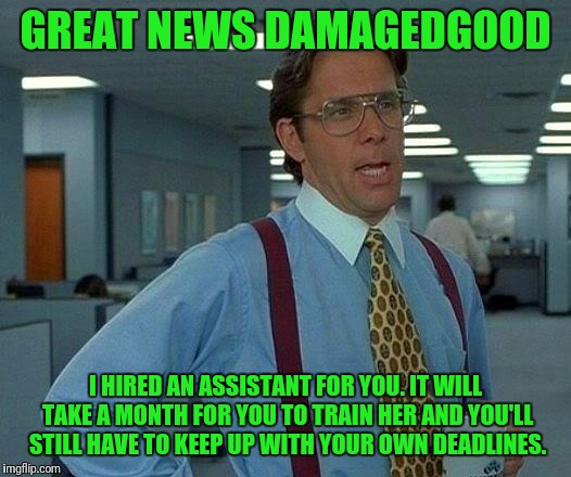 That Would Be Great Meme | GREAT NEWS DAMAGEDGOOD I HIRED AN ASSISTANT FOR YOU. IT WILL TAKE A MONTH FOR YOU TO TRAIN HER AND YOU'LL STILL HAVE TO KEEP UP WITH YOUR OW | image tagged in memes,that would be great | made w/ Imgflip meme maker
