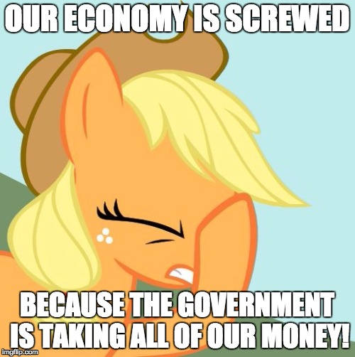 AJ face hoof | OUR ECONOMY IS SCREWED BECAUSE THE GOVERNMENT IS TAKING ALL OF OUR MONEY! | image tagged in aj face hoof | made w/ Imgflip meme maker