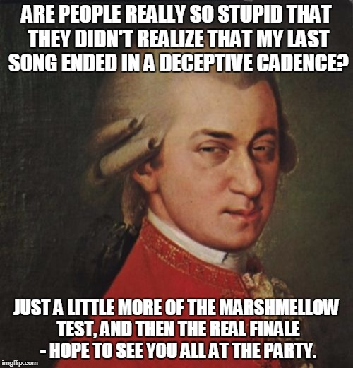 Mozart Not Sure | ARE PEOPLE REALLY SO STUPID THAT THEY DIDN'T REALIZE THAT MY LAST SONG ENDED IN A DECEPTIVE CADENCE? JUST A LITTLE MORE OF THE MARSHMELLOW T | image tagged in memes,mozart not sure | made w/ Imgflip meme maker