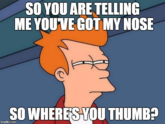 Futurama Fry | SO YOU ARE TELLING ME YOU'VE GOT MY NOSE SO WHERE'S YOU THUMB? | image tagged in memes,futurama fry,funny,lies | made w/ Imgflip meme maker