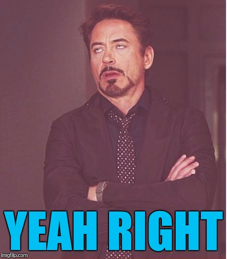 Face You Make Robert Downey Jr Meme | YEAH RIGHT | image tagged in memes,face you make robert downey jr | made w/ Imgflip meme maker