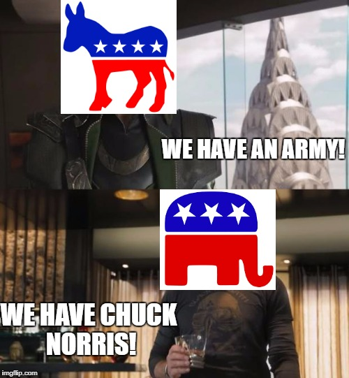 Sharkeisha Avengers | WE HAVE AN ARMY! WE HAVE CHUCK NORRIS! | image tagged in sharkeisha avengers | made w/ Imgflip meme maker