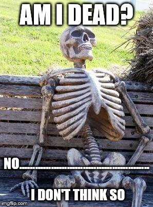 Waiting Skeleton Meme | AM I DEAD? NO................................................. I DON'T THINK SO | image tagged in memes,waiting skeleton | made w/ Imgflip meme maker