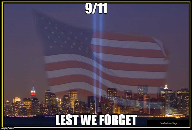 9/11 Memorial  |  9/11; LEST WE FORGET | image tagged in 9/11 memorial | made w/ Imgflip meme maker