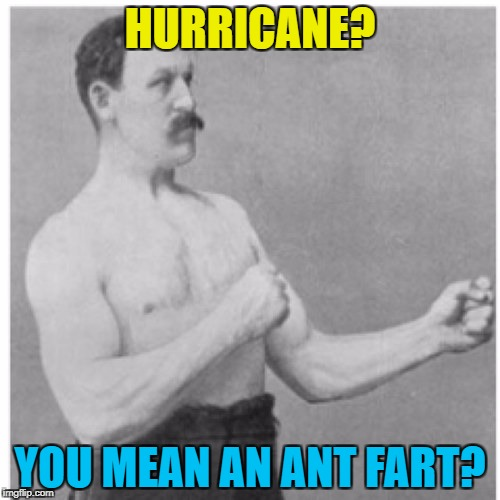 Overly Manly Man's not scared... :) | HURRICANE? YOU MEAN AN ANT FART? | image tagged in memes,overly manly man,hurricane irma,weather,animals,ants | made w/ Imgflip meme maker