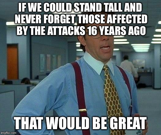 Never Forget 9/11/01 | IF WE COULD STAND TALL AND NEVER FORGET THOSE AFFECTED BY THE ATTACKS 16 YEARS AGO THAT WOULD BE GREAT | image tagged in memes,that would be great | made w/ Imgflip meme maker