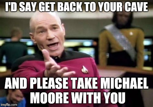 Picard Wtf Meme | I'D SAY GET BACK TO YOUR CAVE AND PLEASE TAKE MICHAEL MOORE WITH YOU | image tagged in memes,picard wtf | made w/ Imgflip meme maker