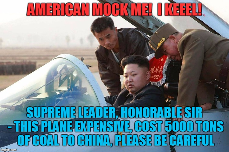 AMERICAN MOCK ME!  I KEEEL! SUPREME LEADER, HONORABLE SIR - THIS PLANE EXPENSIVE, COST 5000 TONS OF COAL TO CHINA, PLEASE BE CAREFUL | made w/ Imgflip meme maker