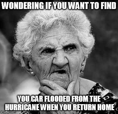 Wondering about flooding | WONDERING IF YOU WANT TO FIND YOU CAR FLOODED FROM THE HURRICANE WHEN YOU RETURN HOME | image tagged in wondering old lady,meme,hurricane,hurricane irma | made w/ Imgflip meme maker