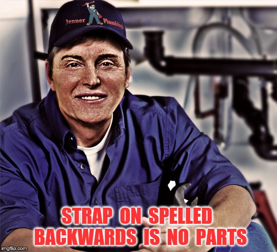 Jenner Plumbing | STRAP  ON  SPELLED  BACKWARDS  IS  NO  PARTS | image tagged in memes,caitlyn jenner,strap on,plumbing,funny | made w/ Imgflip meme maker